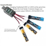 AOKoda CX405 4CH Micro USB Battery Charger For 1S E010 Tiny Whoop Lipo LiHV Battery