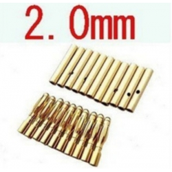 2.0mm Long Gold Connectors (10 Male + 10 Female) (SOLD OUT)