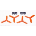 HQ Props 4x4 Bullnose Style Three Blade Prop Orange (CW & CCW 2 pairs)